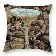 Tall Green Amanita Mushroom Throw Pillow
