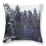 Tall Pines By A Lake Throw Pillow by David Chapman