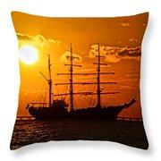 Tall Ship At Sunset Throw Pillow