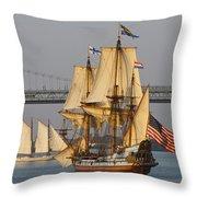 Tall Ship Five Throw Pillow