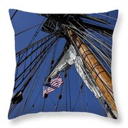 Tall Ship Rigging Throw Pillow by Garry Gay