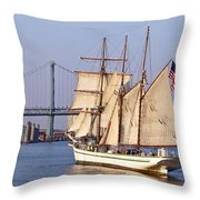 Tall Ship Three Throw Pillow