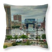 Tall Ships At Baltimore Inner Harbor Throw Pillow