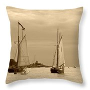 Tall Ships Sailing In Sepia Throw Pillow