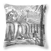 Taming Wild Elephants Throw Pillow