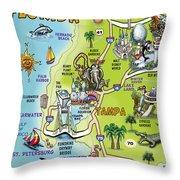 Tampa Florida Cartoon Map Throw Pillow
