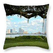 Tampa Skyline Through Old Oak Throw Pillow