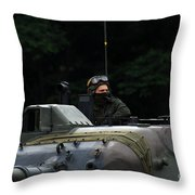 Tank Commander Of A Leopard 1a5 Mbt Throw Pillow