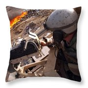 Tank Commander Scans The Trash Covered Throw Pillow by Stocktrek Images