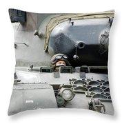 Tank Driver Of A Belgian Leopard 1a5 Throw Pillow