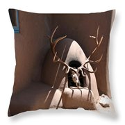 Taos Horno And Antlers Throw Pillow