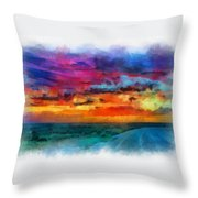 Taos Sunset Iv Watercolor Throw Pillow