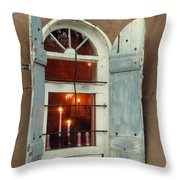 Taos Window With Candlelight Throw Pillow