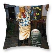 Tapas Man In Spain Throw Pillow