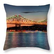 Tappan Zee Bridge Twilight I Throw Pillow