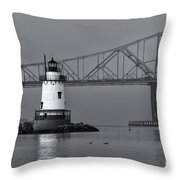 Tarrytown Lighthouse And Tappan Zee Bridge Viii Throw Pillow by Clarence Holmes