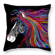 Tattooed Horse Throw Pillow