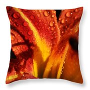 Tawny Daylily And Raindrops Throw Pillow