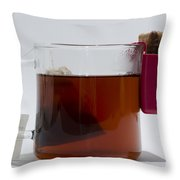 Tea Cup With Cookie Bag Throw Pillow