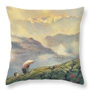 Tea Picking - Darjeeling - India Throw Pillow