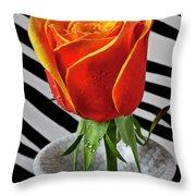 Tea Rose In Striped Vase Throw Pillow