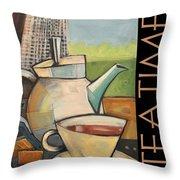 Tea Time Poster Throw Pillow