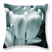 Teal Luminous Tulip Flowers Throw Pillow