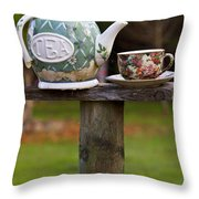 Teapot And Tea Cup On Old Post Throw Pillow by Garry Gay