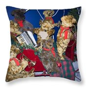 Teddy Bear Band Christmas Throw Pillow