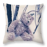 Teddy In Snow Throw Pillow