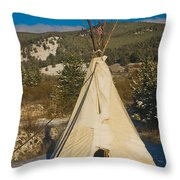 Teepee In The Snow 2 Throw Pillow