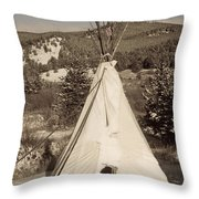 Teepee In The Snow Throw Pillow
