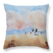 Teepees - Watercolor Throw Pillow