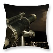 Telescope And Red Moon Throw Pillow