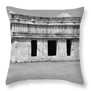 Temple Of The Turtles At Uxmal Mexico Black And White Throw Pillow