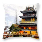 Temple Pagoda Zhujiajiao - Shanghai China Throw Pillow