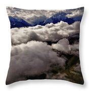Ten Thousand Feet Over Denali Throw Pillow
