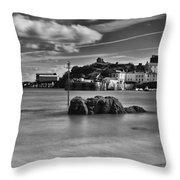 Tenby Harbour 1 Mono Throw Pillow