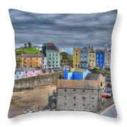 Tenby Harbour In Summer 2 Throw Pillow