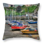 Tenby Harbour In Summer 3 Throw Pillow