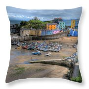 Tenby Harbour In Summer Throw Pillow