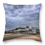 Tenby Harbour Low Tide Throw Pillow