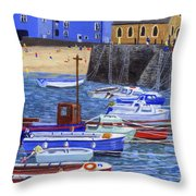 Painting Tenby Harbour With Boats Throw Pillow