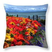 Tenby In Bloom Throw Pillow