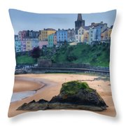 Tenby Over North Beach Painted Throw Pillow