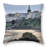 Tenby Over North Beach Throw Pillow