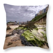 Tenby Rocks Painted Throw Pillow