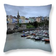 Tenby Town Across The Harbour Throw Pillow