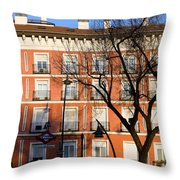 Tenement House Facade In Madrid Throw Pillow