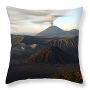 Tengger Caldera With Erupting Mount Throw Pillow